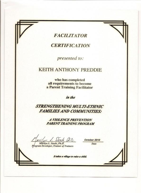 facilitator certificate